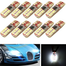 Hot 10Pcs T10 W5W Silica Gel 3014 24 168 194 SMD LED Car Wedge Side Strobe Flashing Parking Light Bulb White