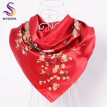 BYSIFA Red Silk Scarves China 90*90cm Fashion Accessories Women Chinese Red Rose Hijab Scarves Spring Autumn Satin Square Scarf