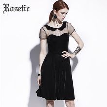 Rosetic Gothic Dress Summer Women Black A-Line Casual Dresses Poly Spun Velour Hollow Goth Girl Party Fashion Young Gothic Dress(China)