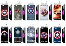 Mobile Phone Cases Wholesale 10pcs/lot Captain American Logo Protective White Hard Case Cover For iphone 6 plus