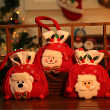 1x Christmas Gold Velvet Gift Bag Christmas Gift Bag Santa Clause / Snowman Pattern Candy Bag Tree Decoration