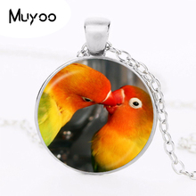 parrot pendant necklace silver plated two parrots photo collar necklace animal jewelry glass dome choker jewellery HZ1(China)