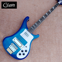 2017 Best Bass Top quality Rick 4003 model Ricken 4 strings Electric Bass guitar in blue color, Chrome hardware, Free shipping(China)