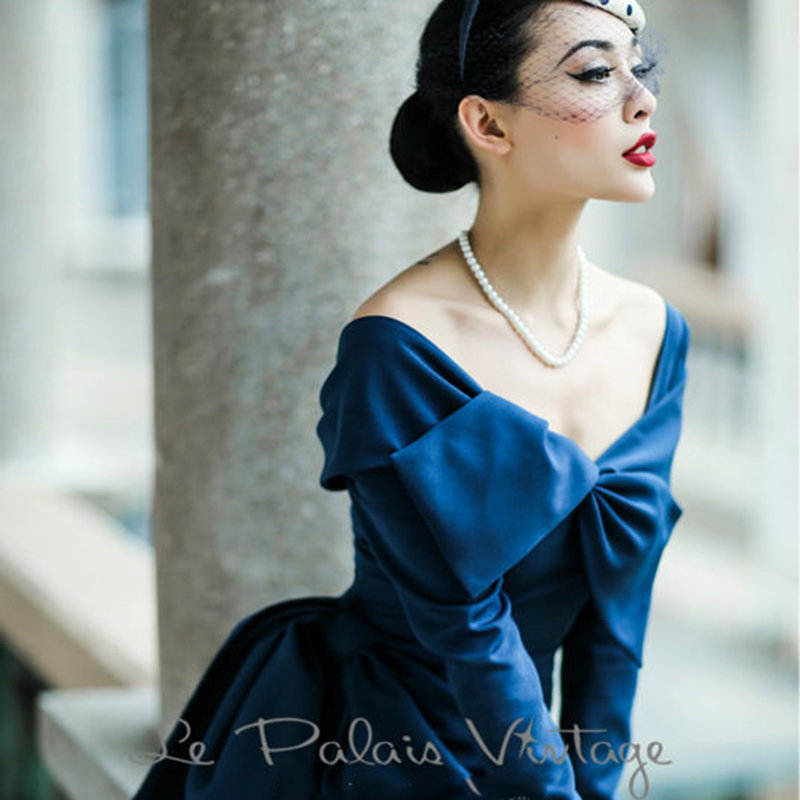 FREE SHIPPING Le Palais Vintage Limited elegant Retro Blue fold butterfly collar slim dress