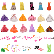 Doll Party Dress Lovely 18Pcs Doll Party Dress Gown Clothes + 50Pcs Doll Access for Barbie Jenny Doll Accessories Girl Toy Gift(China)