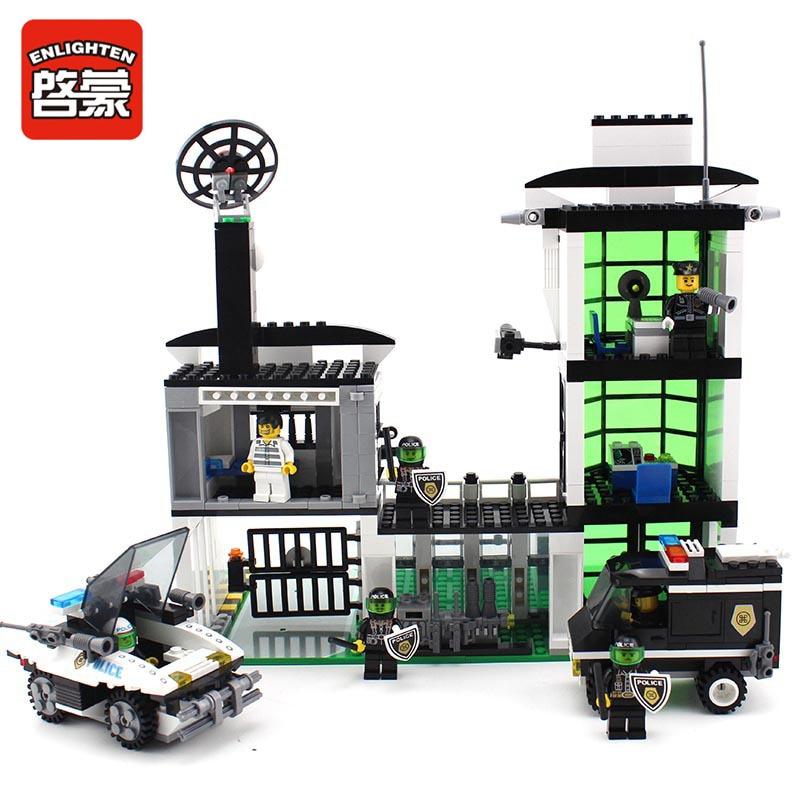 129 ENLIGHTEN City Police Station Diot Tracking Office Model Building Blocks Action Figure Toys For Children Compatible Legoe<br>