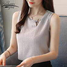 Buy 2018 sleeveless chiffon shirts women clothing solid casual new summer fashion women tops slim sexy o-neck female blouses 0266 40 for $8.39 in AliExpress store