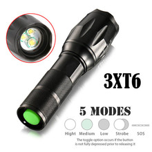 High Quality 15000LM 3T6 LED Zoomable Flashlight Waterproof Torch Light Lamp 18650(China)