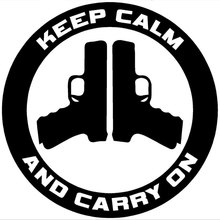 12.7CM*12.7CM Keep Calm and Carry On - Gun Control Decal Car Stickers Reflective Vinyl Styling Black Sliver C8-1028(China)