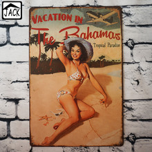 VACATION IN THE BAHAMAS Bikini Girl Poster 20X30CM Vintage Plate Metal Tin Signs Wall Decor Bar Club Barn Parlor Bedroom Plaques