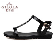 2016 new flat women's sandals flip flops flats women sandals black white red ladies spring summer shoes woman best #Y0574382F(China)