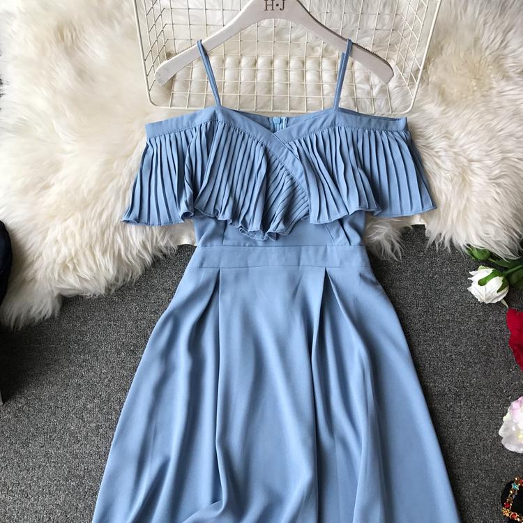 2019 Spring Women Chiffon Pleated Braces Sling Spaghetti Strap Goffer Long Dress Ladies Ruffles Empire Drapped Swing Slip Dress 191
