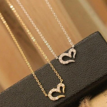 Collier Jewelry 2016 Romantic Pendant Necklaces New Arrival Fashion Hot Selling Crystal Heart Necklace Short Women Sweater Chain