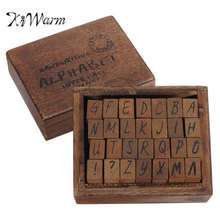 Kiwarm 28Pcs/Set Alphabet Stamp Handwriting Capital Wooden Box Rubber Stamp Gift For Kids Flexible DIY Letters Stamp Supplies