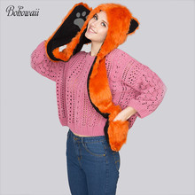 BOHOWAII Faux Fur Wolf Animal Paw Gloves Hat Scarf 3 in 1 Set Winter Warm Cap Cartoon Hood Russia Hat(China)