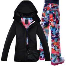 2017 Waterproof Gsou Snow Ski Suit, Black Coat, Double Deck Snowboard Women Snow Jacket+Pants Warm Clothes Free Shipping(China)