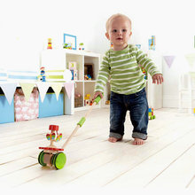 Free delivery animal push & pull can drag toys,children's educational wooden toys To help the baby learning to walk the toys