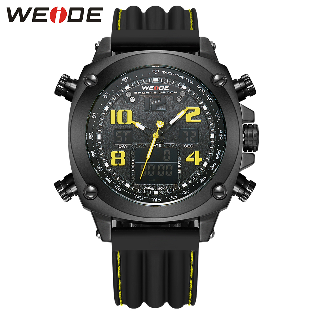 WEIDE Luxury Outdoor Full Black Yellow Army Water Resistant Analog LCD Dual Display Soft Silicone Quartz Men Military Wristwatch<br>