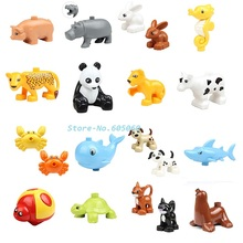 Animal Building Blocks 10pcs/lot Ocean Forest Farm Animal Models baby action Figures toys