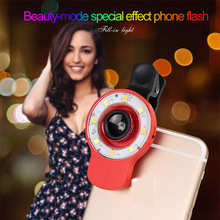 NEW Universal RK09 Multifunctional fill light LED selfie flash Light with 0.67X 0.4X wide angle Micro Fisheye lens Professional(China)