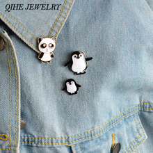 QIHE JEWELRY 3pcs/set brooch pins set Penguin panda brooches Hard enamel metal pins Animal badges Jacket jeans Accessories(China)