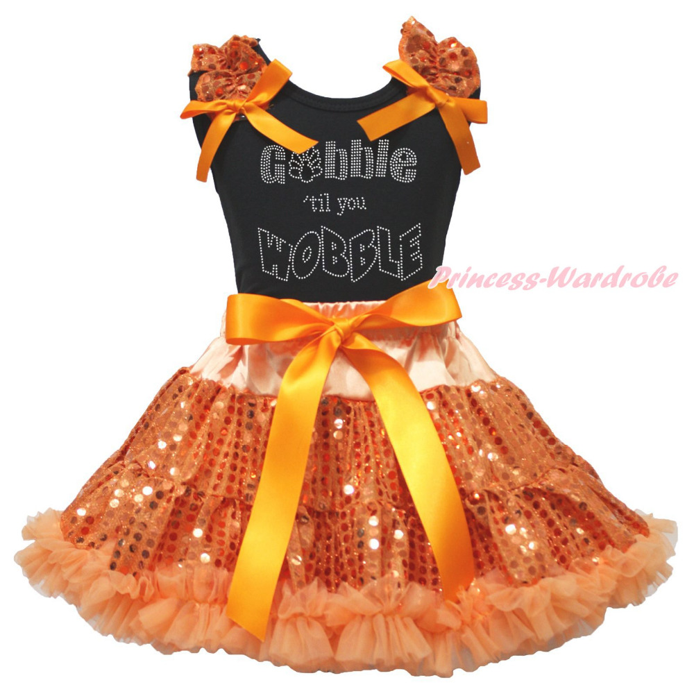 Thanksgiving Black Top Gobble Wobble Orange Bling Sequins Girl Skirt Outfit 1-8Y<br>