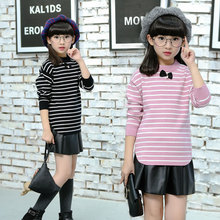 2017 New Autumn Winter Baby Girls Sweater Striped Kids Clothes Children Sweater Warm for Girls Knitwear Fashion Style
