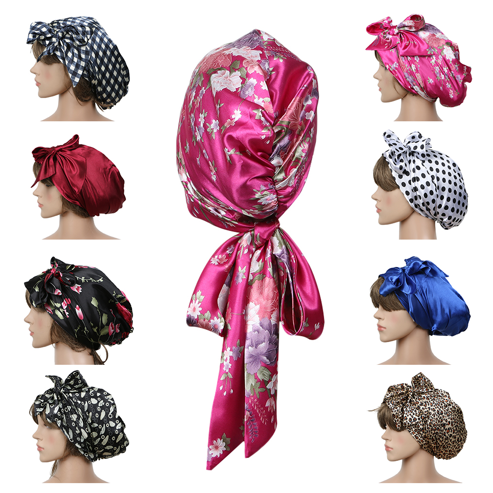 Women Fashion Sleeping Bonnet Cap Soft Pure Silk Sleep Hats Hair Care Wrap Female Night Cap 10 kinds of color(China)