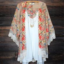 New Retro Women Chiffon Crochet Blouse Floral Kimono Cardigan Tops Shirt Outfit Hot