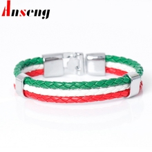 2017 New Fashion Italy Flag Rope Surfer Leather Bracelets For Men Women Casual Multilayer Bandage Charm Friendship Bracelets