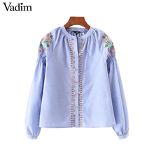 Vadim women floral embroidery pleated shirts long sleeve vintage o neck blouse autumn ladies fashion casual tops blusas LT2234(China)