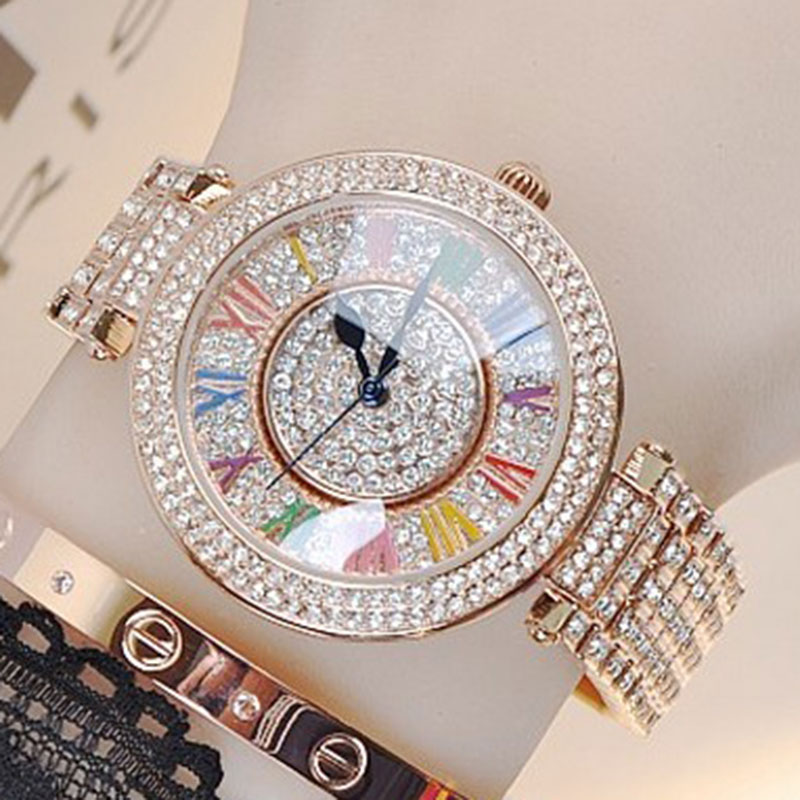 Lady Wrist Crystal Watch Womens Rotate Hours Top Fashion Dress Bracelet Luxury Rhinestones Bling Girl Birthday Gift relojes<br>