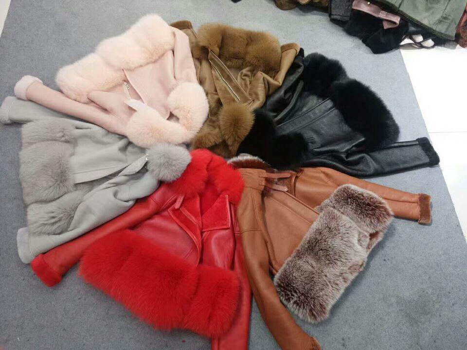 genuine sheep leatherskin jacket fox fur cooar coats (16)