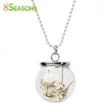 "8SEASONS Glass Bottle Necklace Ball Chain Silver Tone White Dried Flower Pendant Chinese Painting Transparent 59.5cm(23 3/8"")"
