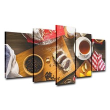 Panel Printed Home Decor Kitchen restaurant Giveaways wall sticker 5 Pieces Canvas Wall Art  Coffee Poster Oil Painting Picture
