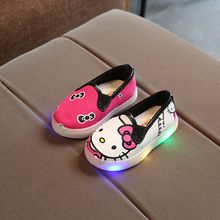 KKABBYII Kids Shoes With Light Princess Girls Led Sneakers Spring Breathable Cartoon Hello Kitty Shoes Cute Soft(China)