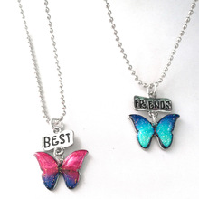 Buy 2pcs Best Friends Butterfly Pendant Necklaces Friendship Jewelry Christmas Gift 2017 new fashion drop oil necklace for $1.00 in AliExpress store