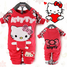 Free Shipping 2014 New Fashion Spring Autumn kitty  Baby Clothing Set Long Sleeve O-Neck Baby Boys Girls Sets 3 colors