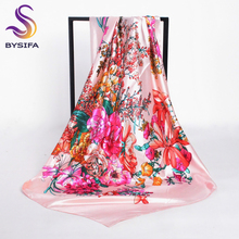 [BYSIFA] Ladies Silk Scarf Headscarf 2017 New Design Satin Large Square Scarves Wraps 90*90cm Turkey Women Head Scarf Neck Scarf(China)