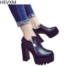 HEVXM Women High Heels Thick With Waterproof Side Zipper Fashion Boots Spring And Autumn Women'S Martin Boots Bare Boots(China)