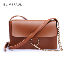 ELIM&PAUL 2017 New Ladies MESSENGER BAG Fashion PU Leather Soft Solid Women Small Chain Crossbody Bags Messenger Bag