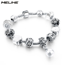Buy MELIHE Fashion European Style Silver Bracelets & Bangles Simulated Pearl Charm Bracelets Women Pulseira SBR160043 for $3.80 in AliExpress store