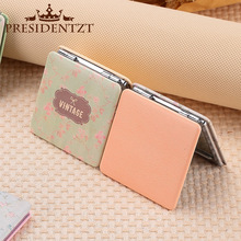 Fashion Flower mirror pu leather high-grade Floral portable folding double-sided mirror small square mirror portable creative