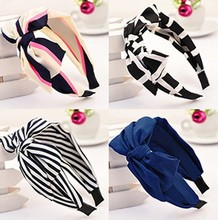 1 pc New 2016 New Lady Girl Cute Sweet Big Bowknot Ribbon Hair Accessories Headband Bow Free Shipping