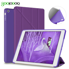 For iPad Air 2 Air 1 Case,Ultra Thin Slim PU Leather+Silicone Soft Back Smart Cover Case Auto Wake for Apple iPad Air /5 6 Coque