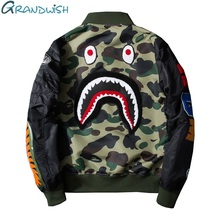 Grandwish Mens Bomber Jacket Plus Size 3XL Back Shark Embroidery Camouflage Flight Jacket Patch Men Hip Pop Bomber Jacket,DA166