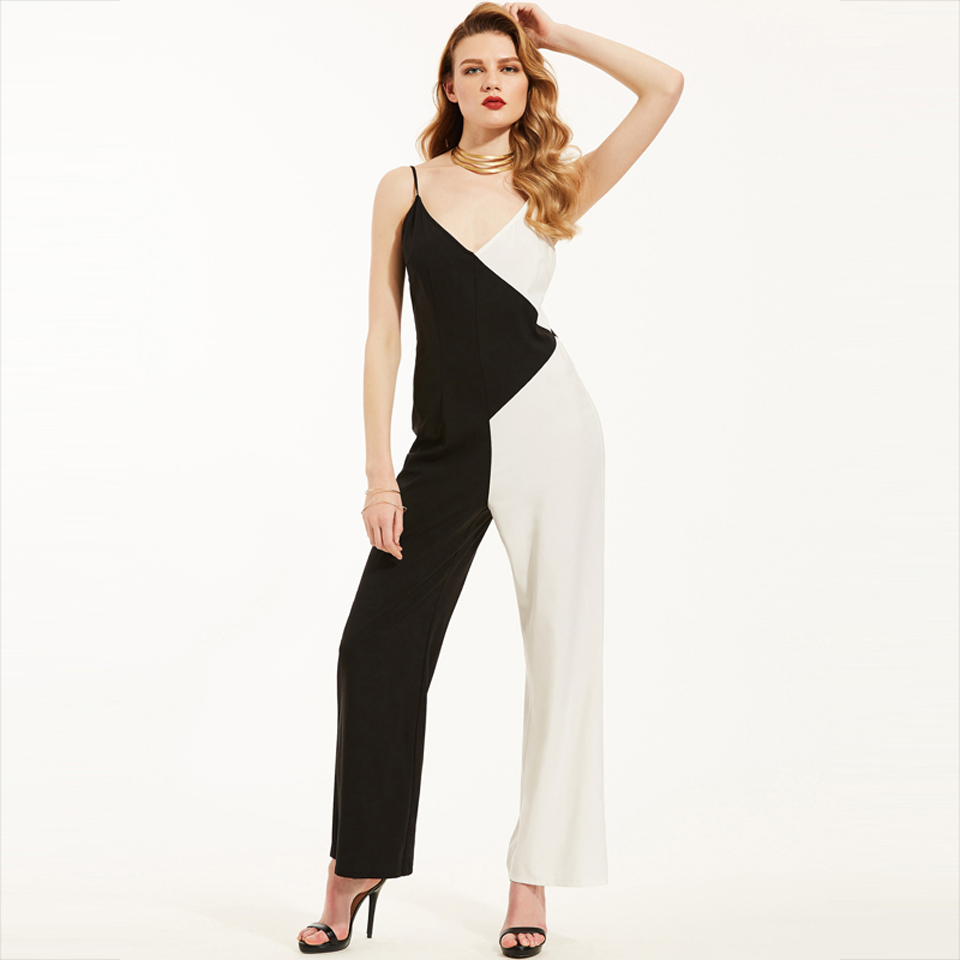 Young17 Women Jumpsuits Black Trousers Straight Full Length Color Block Hollow Summer Fashion Casual Jumpsuit Women Jumpsuit 6