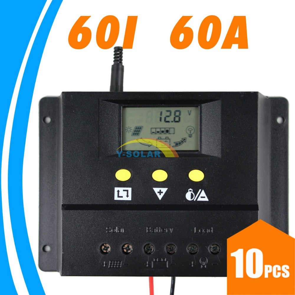 10PCS 60a Solar Charge Controller 12V 24V PV Panel Battery Charge Regulator LCD Display Auto Identification PWM Settable Voltage<br>