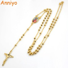 Anniyo Our lady Virgin Mary Long Rosary Necklaces Bead Chain Cross Pendant Gold Color Catholic Church Ball Jewelry #049604(China)
