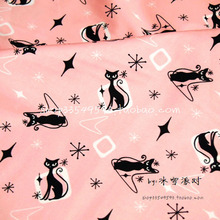Cat Print Fabric Width 140cm 100%Cotton Fabric Patchwork Black cat Printed Pink Fabric Sewing Material Diy Women Dress Clothing
